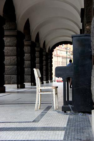 Piano at a corridor photo