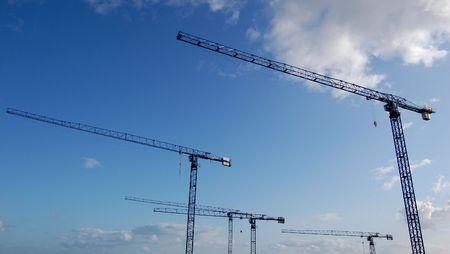 rennovation: Cranes at daylight, taken at a construction site on a hospital in Preston, Merseyside