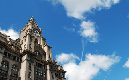 The Liver Buildings in the business district of Liverpool town centre, UK photo
