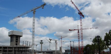 Skyline under construction, taken at the Albert Dock in Liverpool UK photo