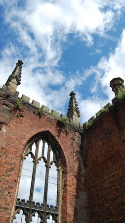 bombed: A picture of the old architecture of from the inside of the Bombed Out Church in Liverpool, UK