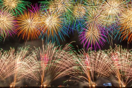 Colorful fireworks at toi kanagawa japan. Archivio Fotografico