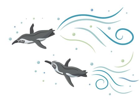 Humboldt penguins swimming like flying in the sky with water flow and bubbles. Çizim