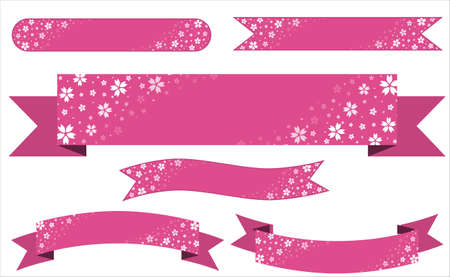 Set of Japanese style pink banners decorated with cherry blossoms drawn on a white background. Japanese SAKURA.