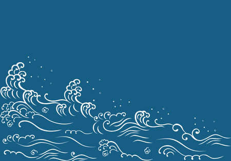 Japanese style wave and copyspace. Tsunami wave.