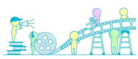 People editing video. videographers.Filmmaking. Motion Design flat vector illustration