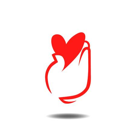 voluntary: Heart in hands logo. Charity, healthcare, health concept