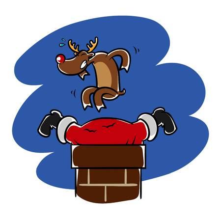 Reindeer helps Santa who stuck in the chimney.