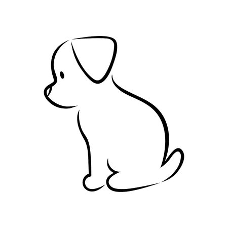 Cute cartoon puppy silhouette on white background
