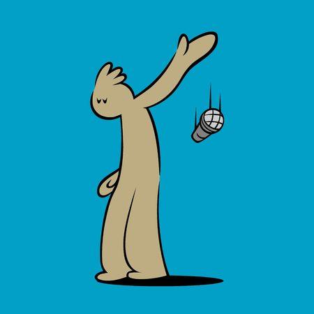 漫画のキャラクターがマイクを落とす。印刷のアイデア  イラスト・ベクター素材