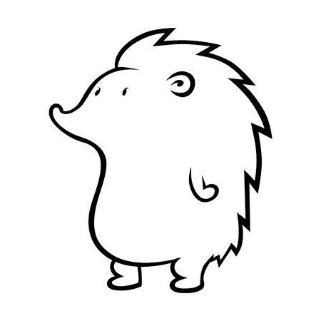 Cute cartoon hedgehog outline on white background