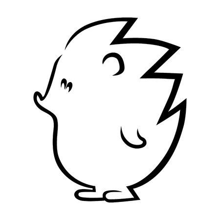 Cute hedgehog outline on white background Illustration