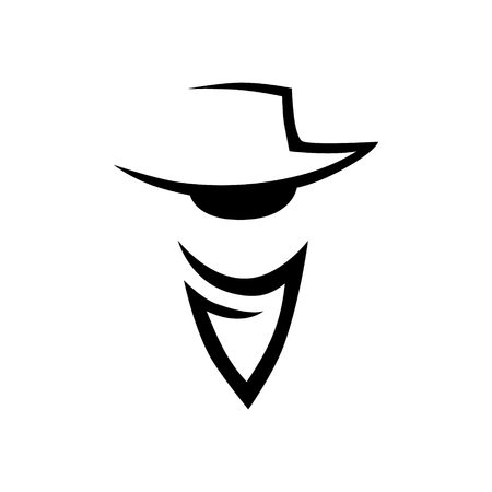 Abstract cowboy head logo, icon on white background