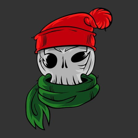 Cartoon skull in a winter hat and a scarf.