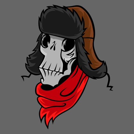 Cartoon skull in a winter hat with ear flaps vector
