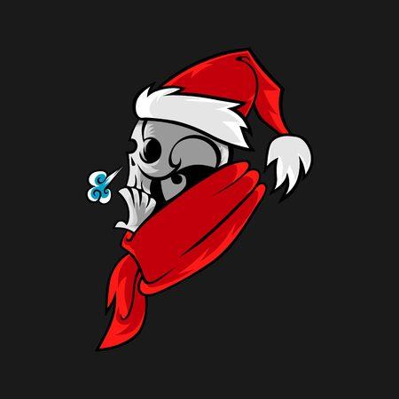 Cartoon skull in Santa hat Christmas illustration. T-shirt print idea