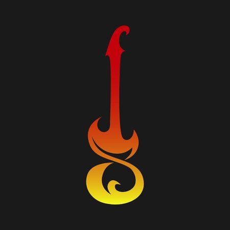 Electric guitar abstract symbol, icon. Used for logo