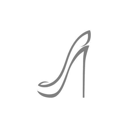 Abstract high heel shoe symbol, icon on white. Used for logo