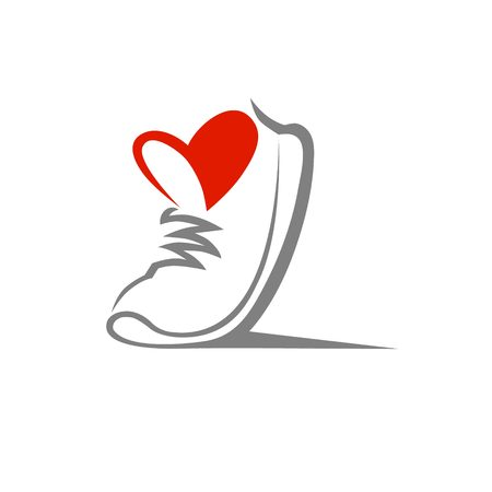 Abstract running shoe symbol, icon. Love sport concept, used for logo Vettoriali