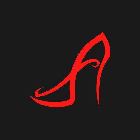 Abstract high heel shoe logo concept design template.