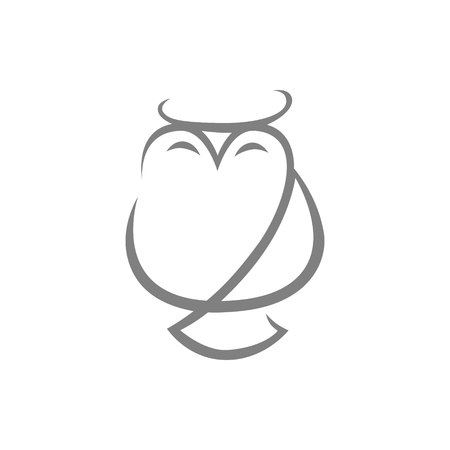 Abstract owl symbol, icon on white background. Design element 向量圖像