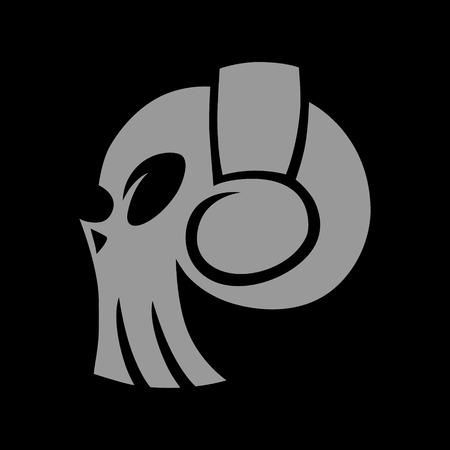 Skull in headphones symbol, icon on black background