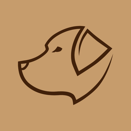 Abstract brown dog head symbol, icon. Design element