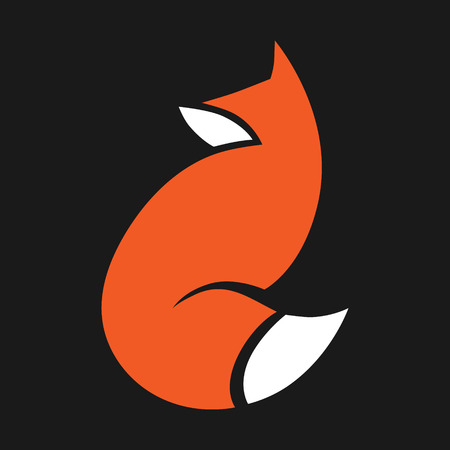 Abstract red fox symbol, icon on black background. Design element 向量圖像