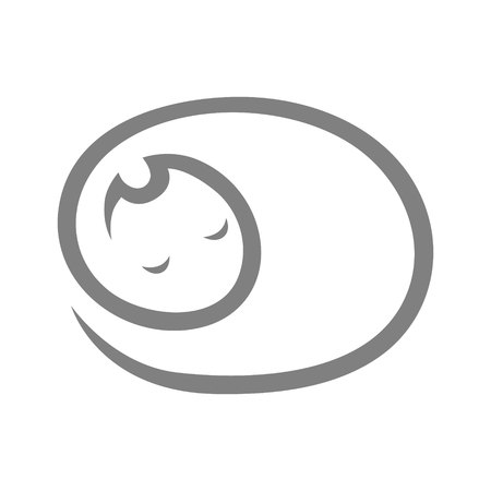 Cute sleeping cat abstract symbol, icon on white background. Design element 向量圖像