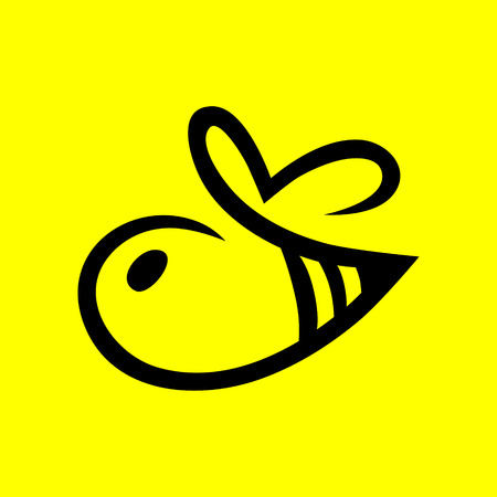 Abstract bee symbol, icon on yellow background.