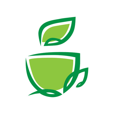 Herbal green tea cup symbol, icon on white background.