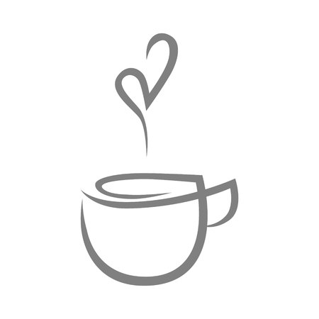 Tea cup, coffee cup symbol, icon on white background design element.