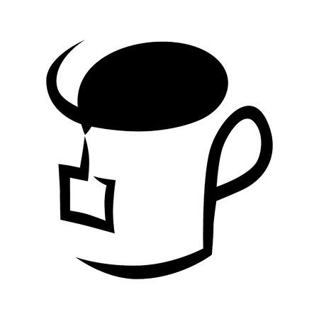 Abstract tea cup symbol, icon on white background. Design element