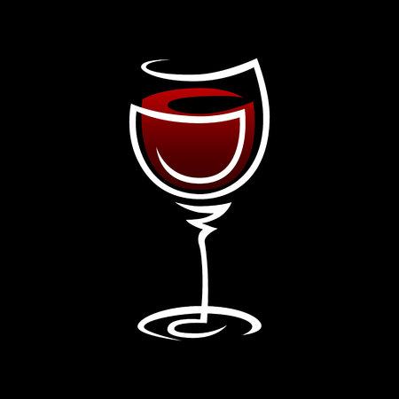 Abstract red wine glass symbol, icon on black background. Design element