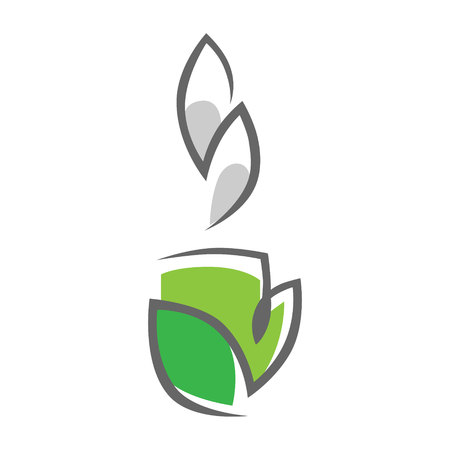 Herbal green tea cup symbol, icon on white background. Design element 向量圖像