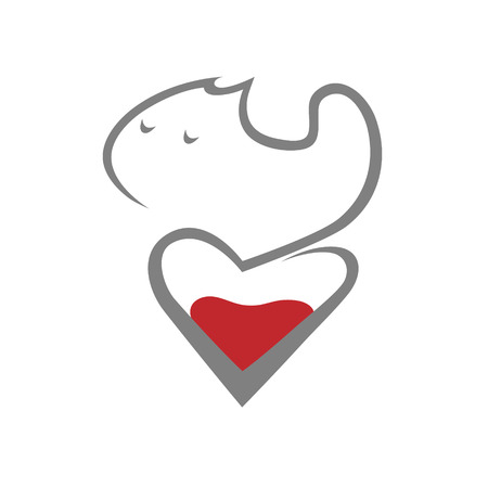 Cat and heart symbol, icon on white background.  Design element Vector illustration. 向量圖像