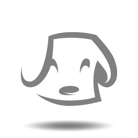 Cute puppy head symbol, icon on white background. Design element Vector illustration. 向量圖像