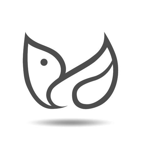 Abstract bird symbol, icon on white background. Design element Vector illustration.