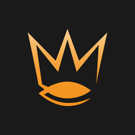 Abstract crown symbol, icon on black background. Design element Vector illustration.