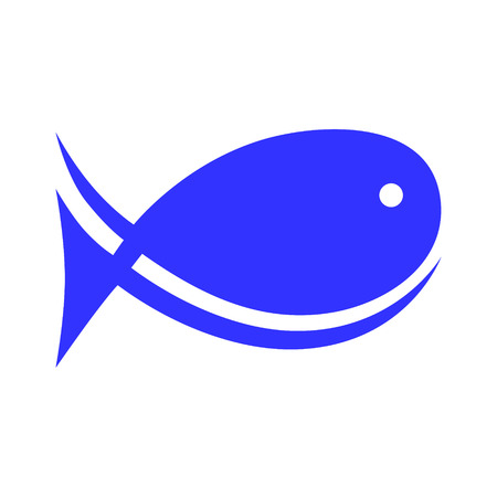 Abstract fish symbol, icon on white background. Design element Vector illustration.