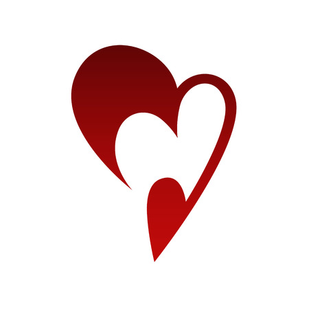 Abstract heart symbol, icon on white background. Design element Vector illustration.