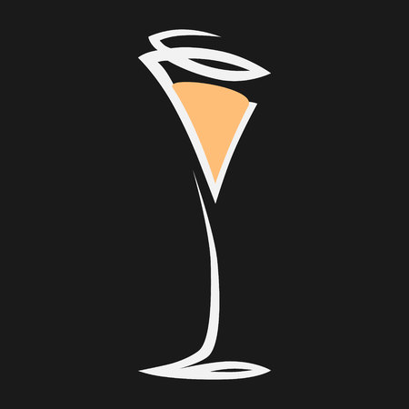 Abstract champagne drinking glass symbol, icon on black background. Design element Vector illustration.
