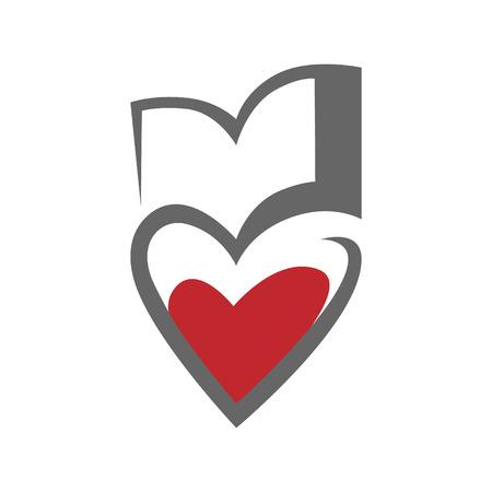 Loving books concept symbol, icon on white background. design element Vector illustration. 向量圖像