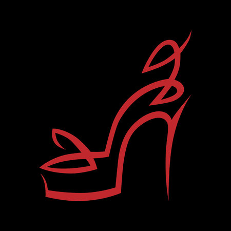 Abstract high heel shoe symbol, icon on black background. Design element Vector illustration.