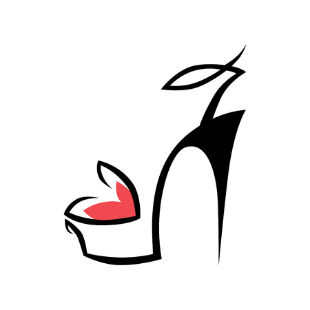 Abstract high heel shoe symbol on white background.