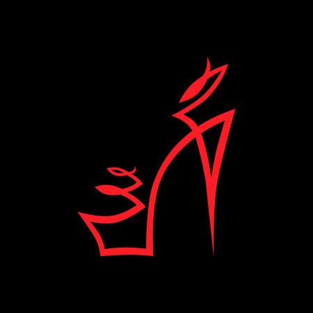Abstract high heel shoe symbol, icon on black background. Design element