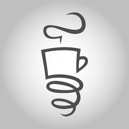 Coffee cup with a spring symbol, icon. Design element