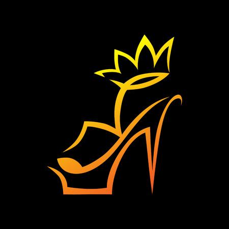 Sandały na wysokim obcasie z symbolem korony, ikona na czarnym tle Element projektu