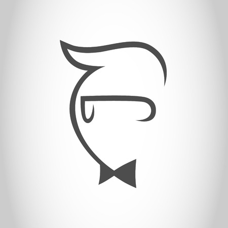 Geek guy with a bow tie symbol, icon