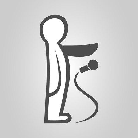 Drop the mic metaphor symbol, icon 向量圖像